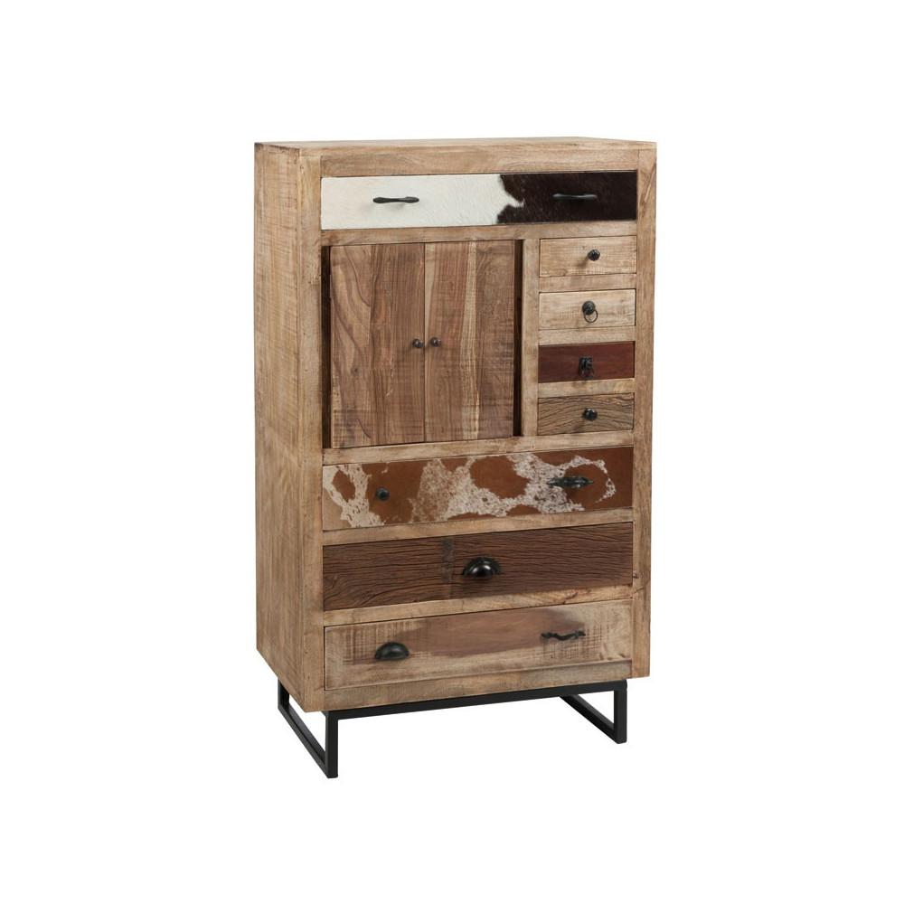 armoire 2 portes 8 tiroirs bois et peau de vache univers petits meubles