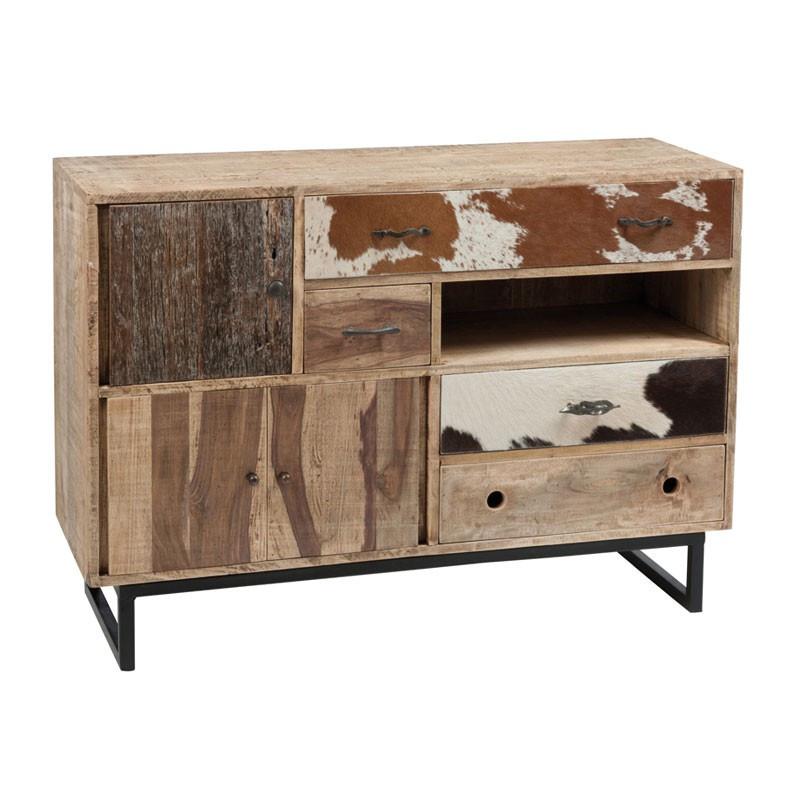 Commode 3 portes 4 tiroirs bois et peau de vache - Univers Petits Meubles : Tousmesmeubles