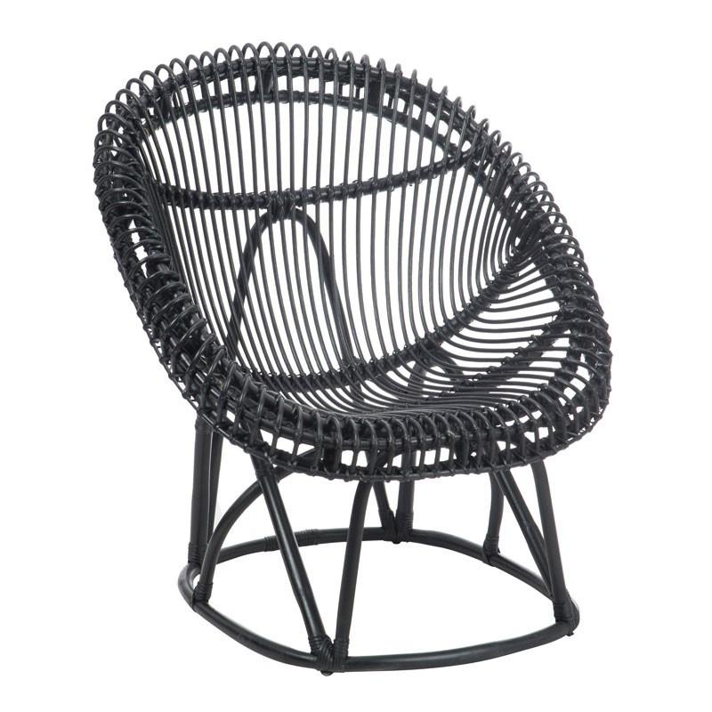 Chaise Rotin Noir mat - Univers Assises : Tousmesmeubles