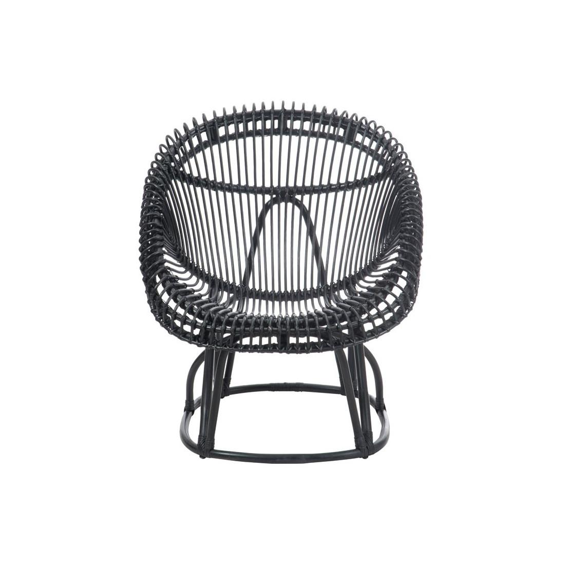 chaise rotin noir mat univers assises tousmesmeubles - Chaise Rotin Noir