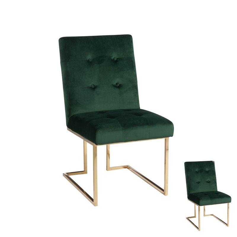 Duo de Chaises Velours Vert pied métal or - Univers Salle à Manger et Assises : Tousmesmeubles