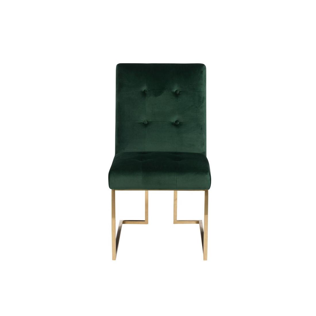 Duo de chaises velours vert velly univers des assises for Chaise de salle a manger verte