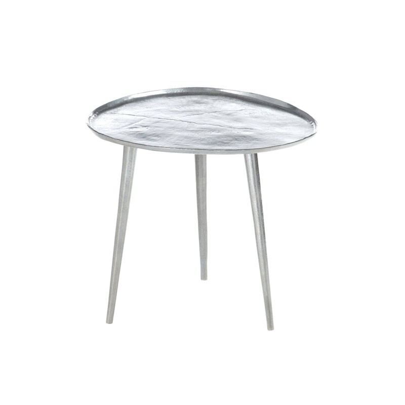 Table d 39 appoint m tal argent taille s bisco univers - Table d appoint contemporaine ...