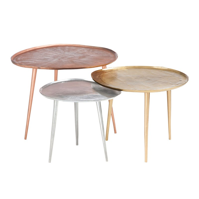 Table d 39 appoint m tal argent taille s bisco univers for Table d appoint metal