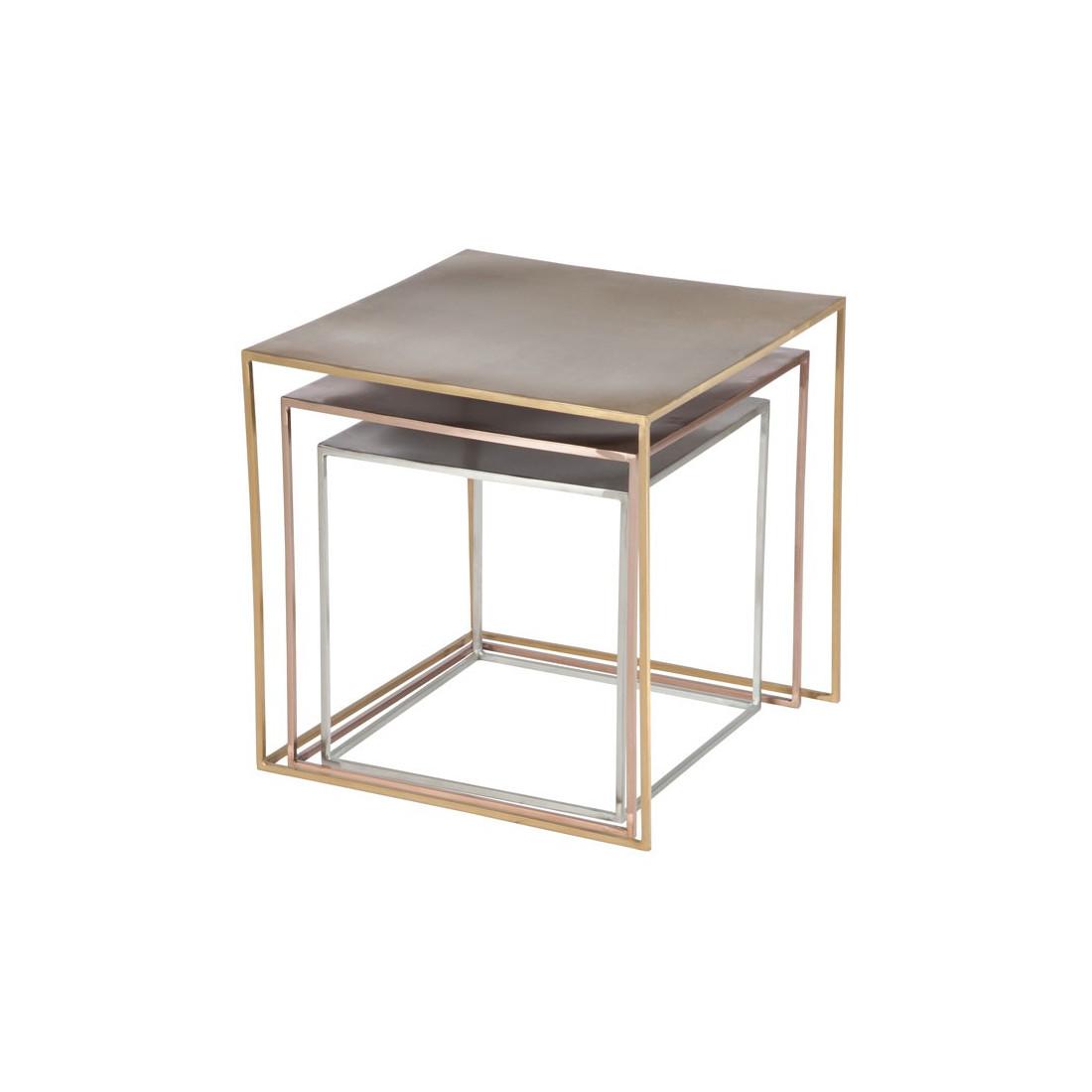 tables gigogne argent or cuivre carr es bisco univers. Black Bedroom Furniture Sets. Home Design Ideas