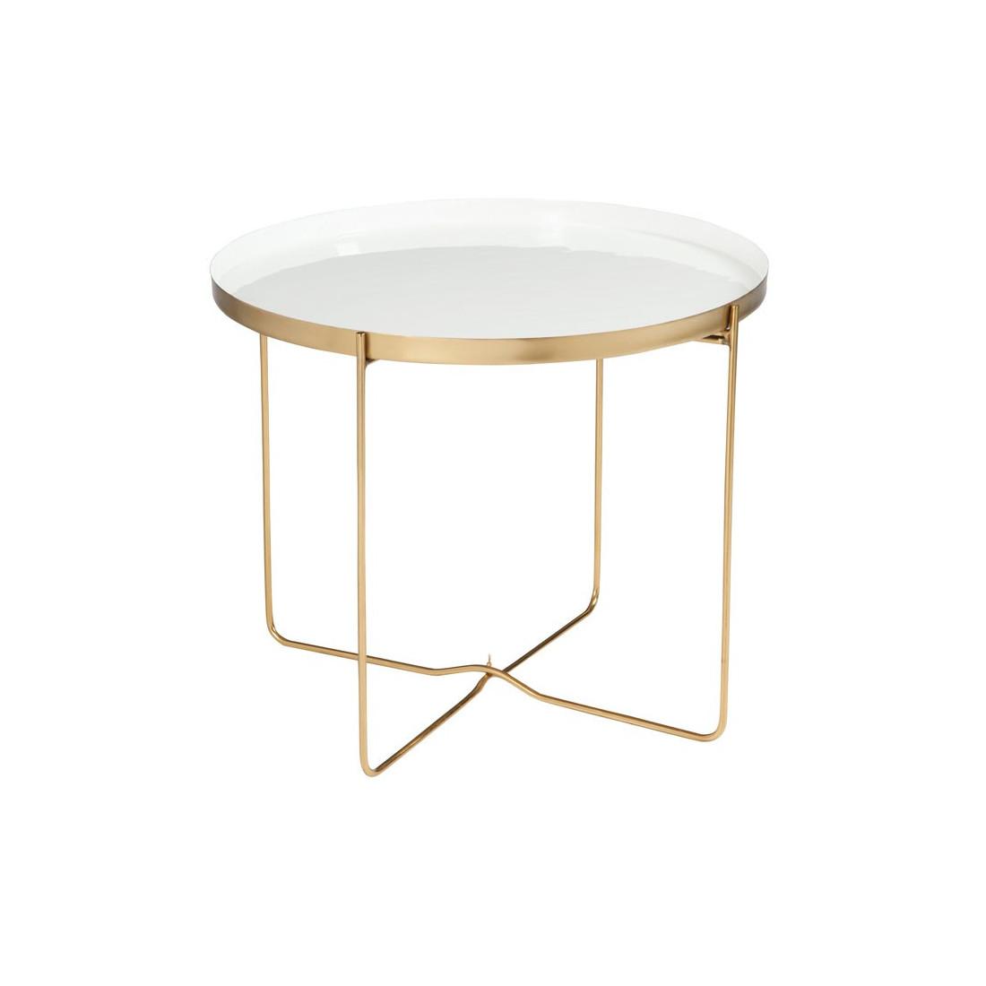 table d 39 appoint m tal or blanc bisco univers des petits. Black Bedroom Furniture Sets. Home Design Ideas