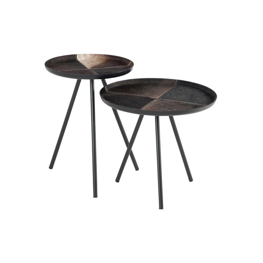 tables d 39 appoint m tal noir peau bisco univers des petits meubles. Black Bedroom Furniture Sets. Home Design Ideas