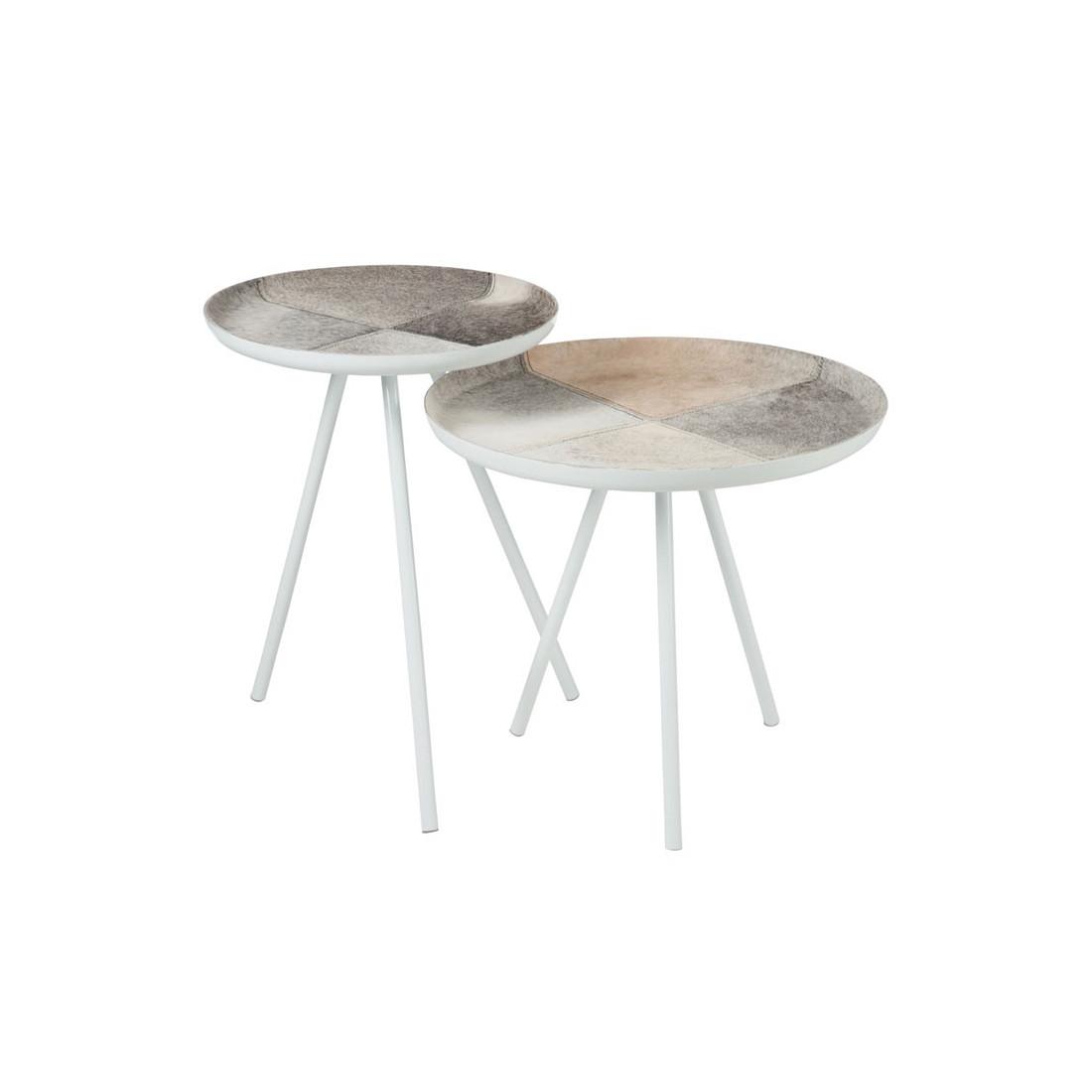 tables d 39 appoint m tal blanc peau bisco univers des petits meubles. Black Bedroom Furniture Sets. Home Design Ideas