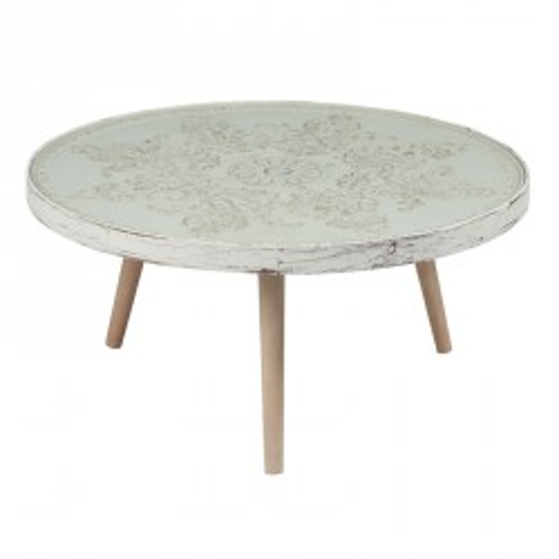 Table basse ronde bois patiné - Univers Salon : Tousmesmeubles