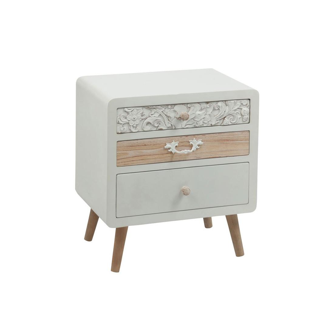 table de chevet 3 tiroirs bois c rus blanc fluence univers chambre. Black Bedroom Furniture Sets. Home Design Ideas
