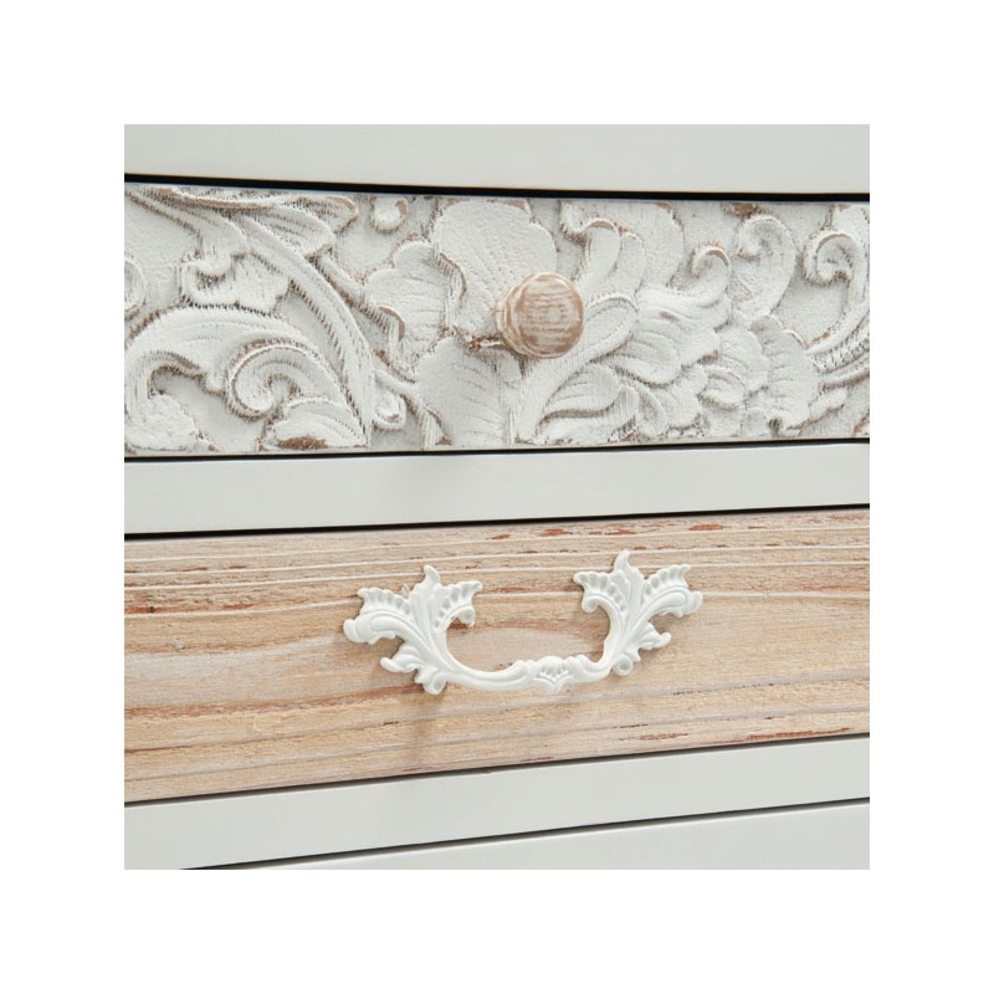 Table de chevet 3 tiroirs bois c rus blanc fluence for Table basse bois blanc ceruse