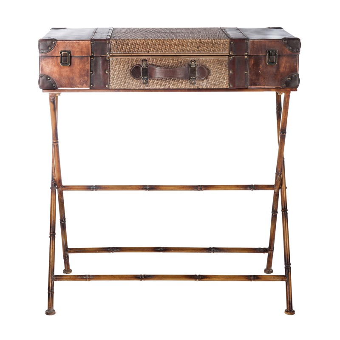 console valise m tal aspect rotin linda univers des petits meubles. Black Bedroom Furniture Sets. Home Design Ideas