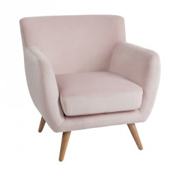 Fauteuil Club Velours Rose
