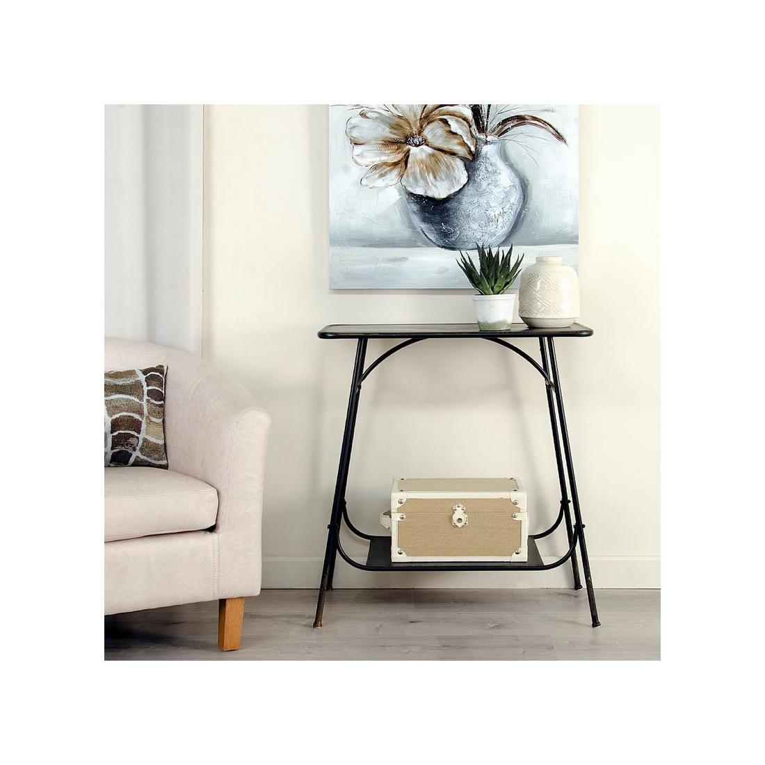 table d 39 appoint m tal noir block univers des petits meubles. Black Bedroom Furniture Sets. Home Design Ideas