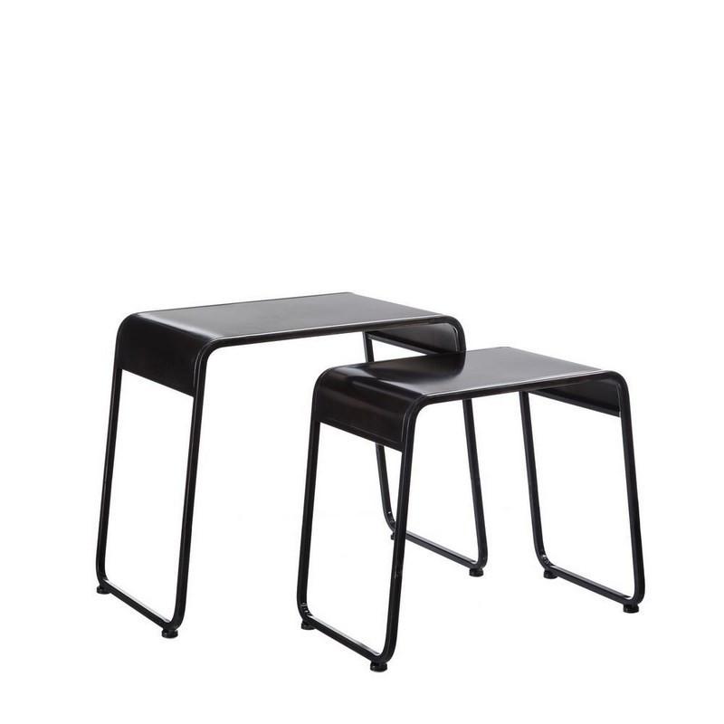 Tables gigognes d'appoint Métal Noir industriel - Univers Petits Meubles : Tousmesmeubles