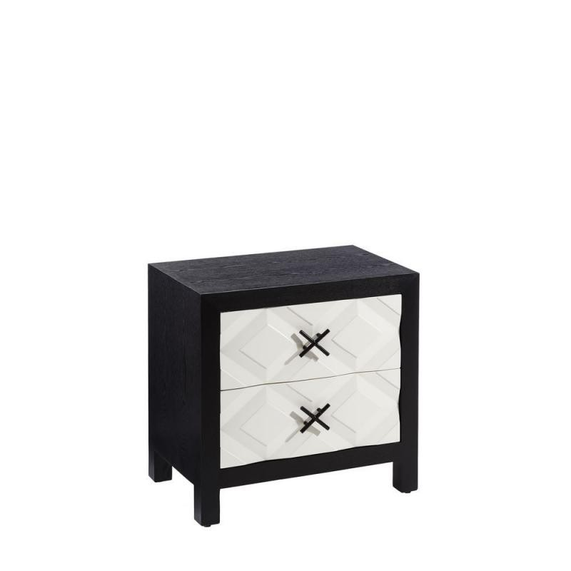 table de chevet 2 tiroirs noir blanc monoi univers de la chambre. Black Bedroom Furniture Sets. Home Design Ideas