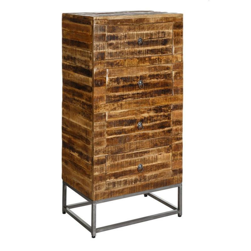 Chiffonnier 4 tiroirs bois massif manguier métal industriel - Univers Petits Meubles : Tousmesmeubles