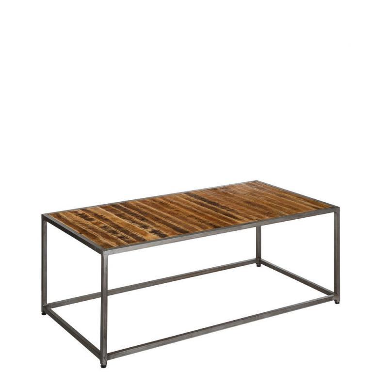 Table basse bois massif manguier métal industriel - Univers Salon : Tousmesmeubles