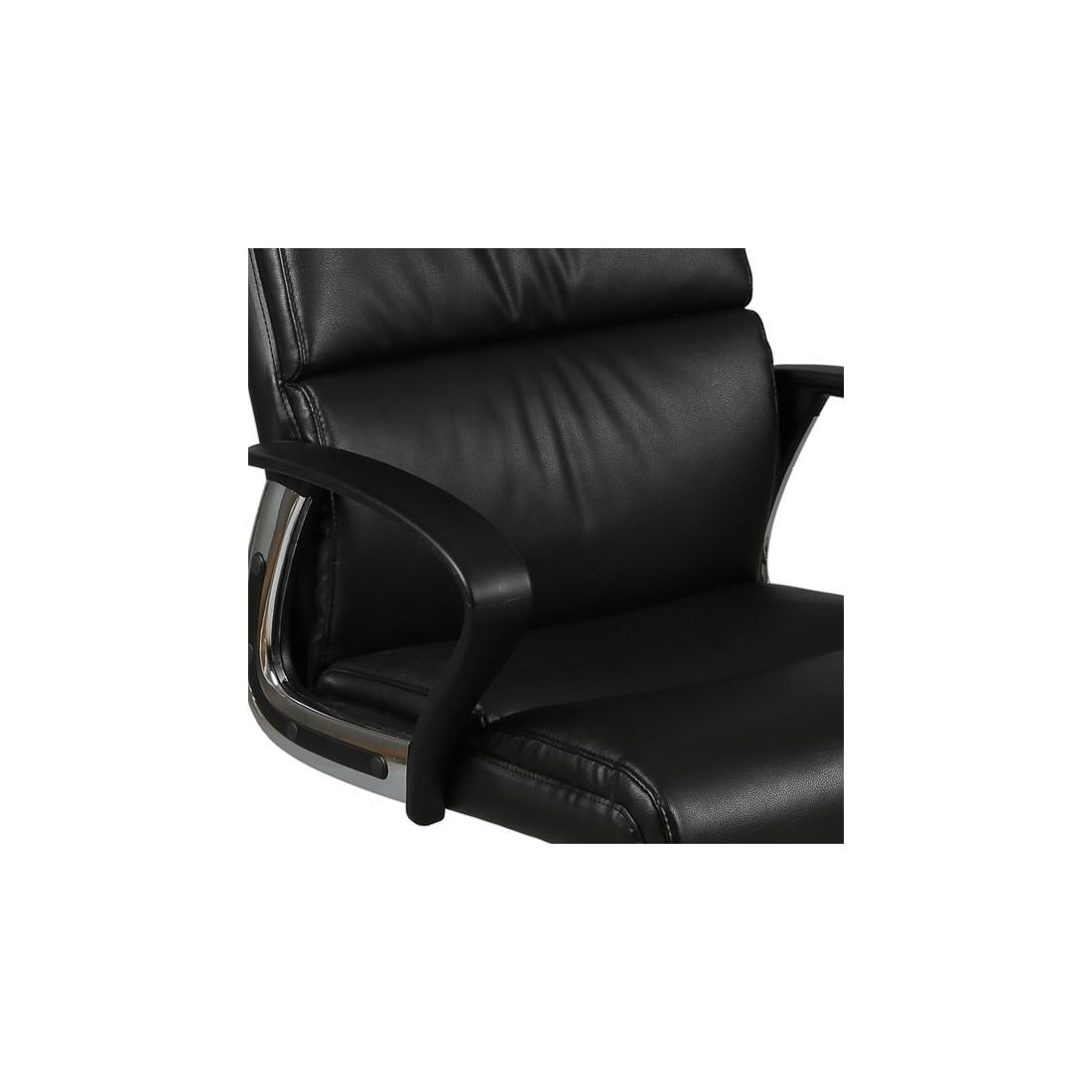 Fauteuil de bureau noir axel univers petits meubles - Fauteuil de table simili cuir ...