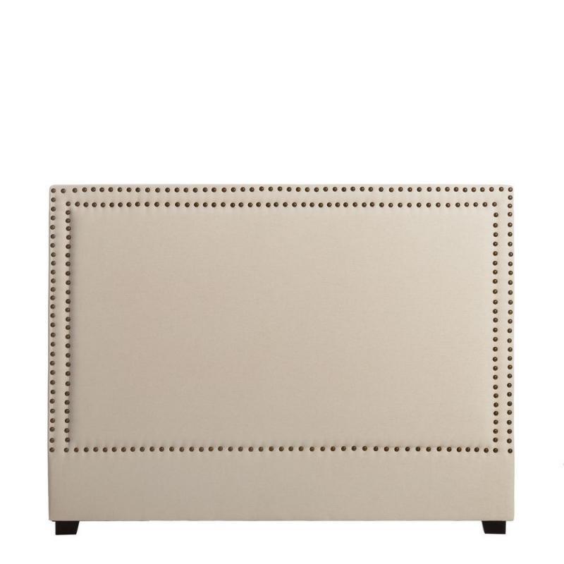 Tête de lit Crème 160 cm tissu clous - Univers Chambre : Tousmesmeubles