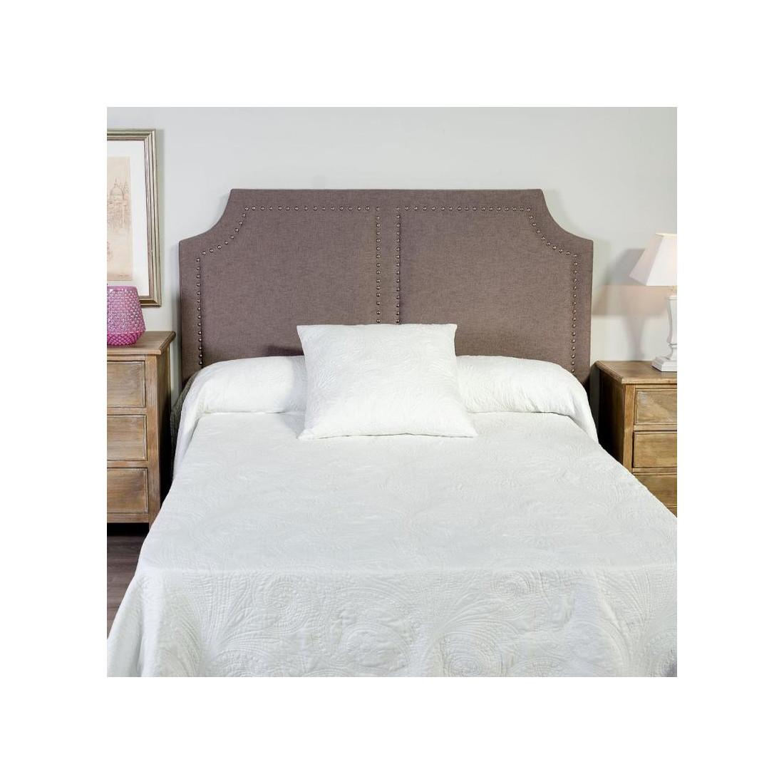 T te de lit clout e gris 160 cm n 4 sweet univers chambre - Tete de lit tissu gris ...