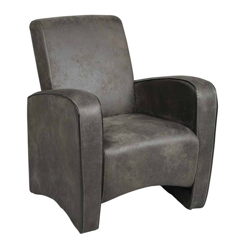 fauteuil club gris king univers du salon tousmesmeubles. Black Bedroom Furniture Sets. Home Design Ideas