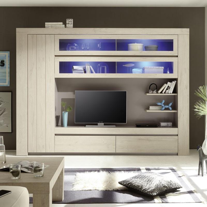 Composition TV Chêne Beige éclairage LED's -  ALMATI