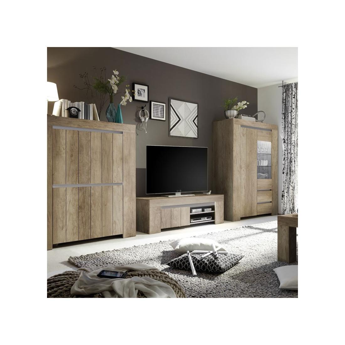 Meuble tv 1 porte 2 niches ch ne moyen almati univers du salon - Meuble tv encadrement ...