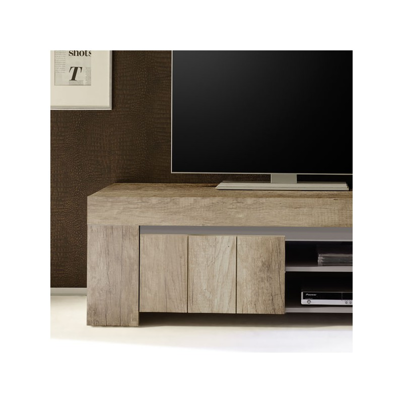 Meuble tv 1 porte 2 niches ch ne moyen almati univers du for Meuble tv porte