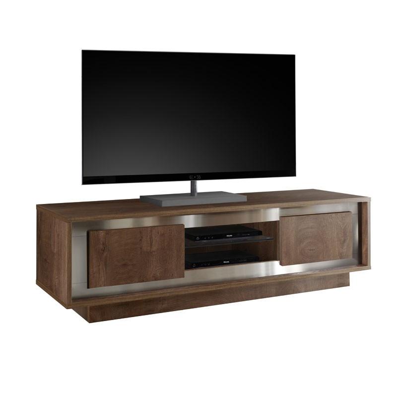 Meuble TV 2 portes chêne foncé - SKY