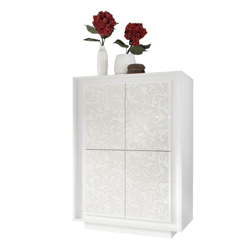 Armoire 4 portes décor floral blanc - SKY