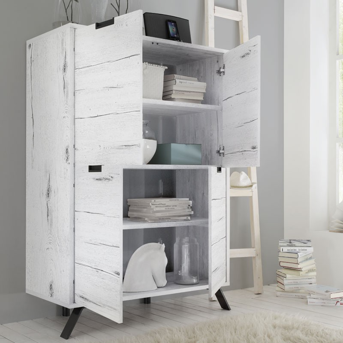 vaisselier armoire salon ch ne blanchi palerme univers. Black Bedroom Furniture Sets. Home Design Ideas