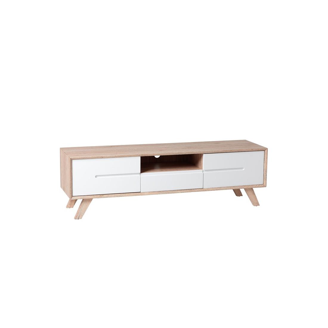 Meuble tv 2 portes 1 tiroir style scandinave galo for Meuble 2 portes 1 tiroir