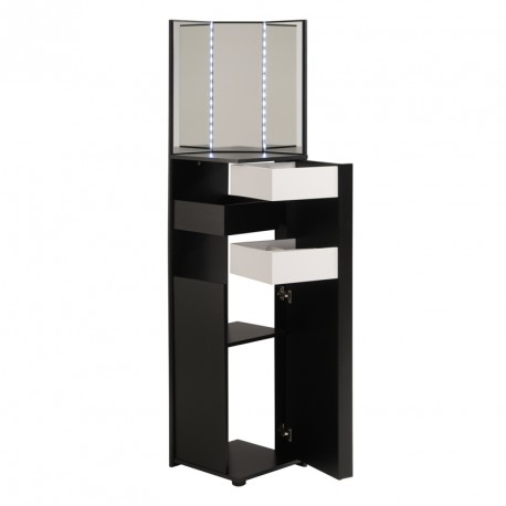 petite coiffeuse d 39 angle35 tiroirs noir blanc vicky univers chambre. Black Bedroom Furniture Sets. Home Design Ideas