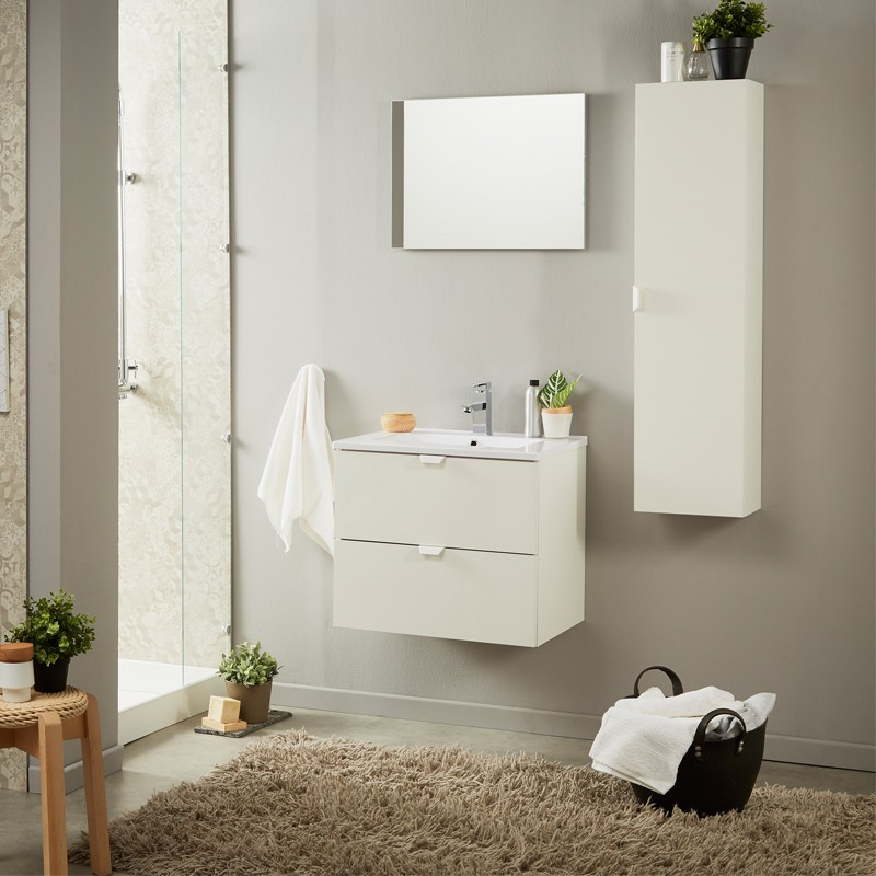 meuble vasque miroir blanc brillant uriel n 1 univers