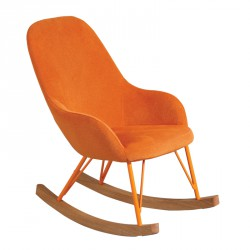 Rocking Chair Enfant tissu Orange scandinave - Univers Assises : Tousmesmeubles