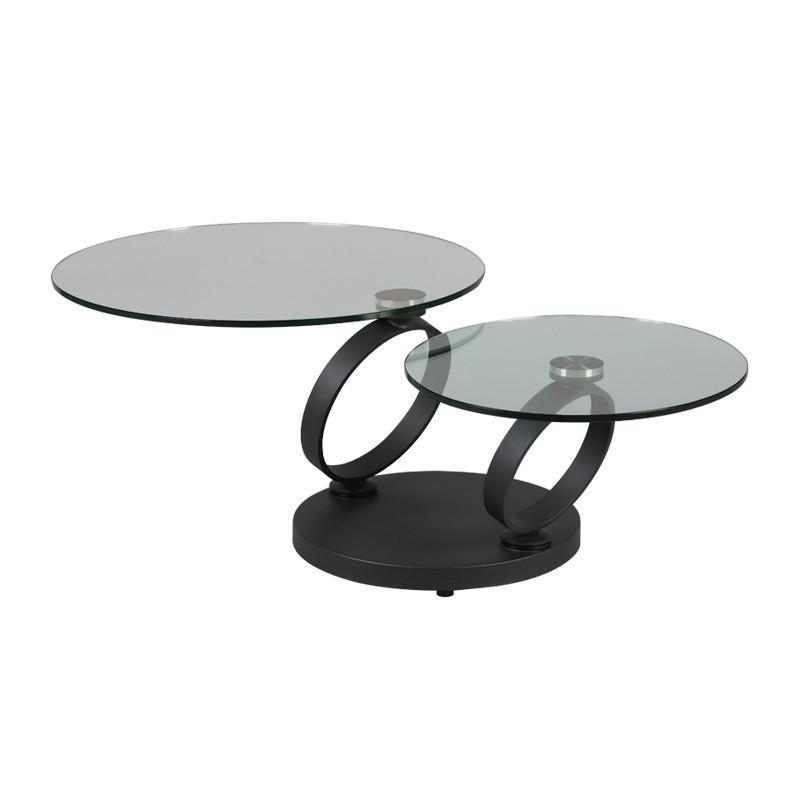 Table basse articulée pieds métal et plateaux verre ronds - Univers Salon : Tousmesmeubles