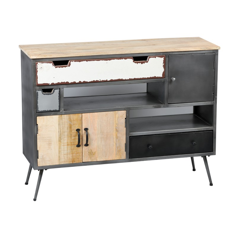 meuble d 39 entr e industriel bois m tal supply univers petits meubles. Black Bedroom Furniture Sets. Home Design Ideas