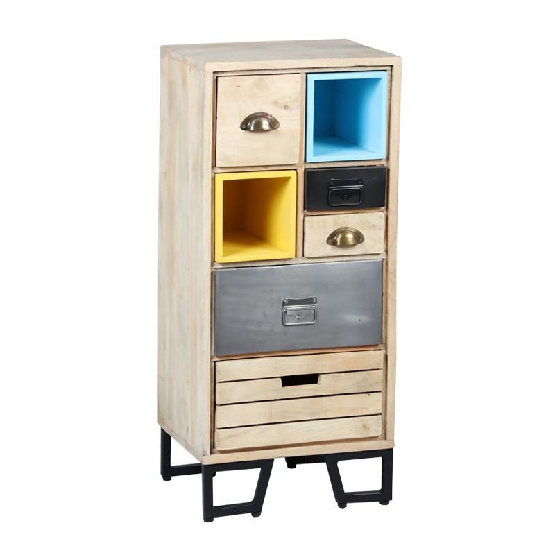 Chiffonnier 5 tiroirs Bois/Métal industriel - Univers Petits Meubles : Tousmesmeubles