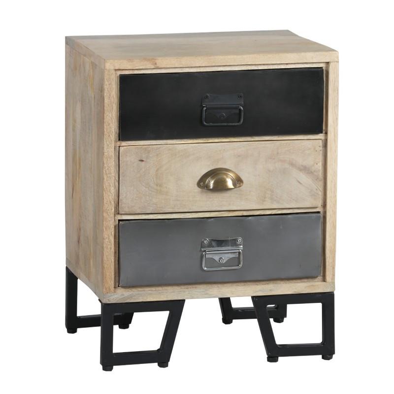 Table de chevet 3 tiroirs Bois/Métal industriel - Univers Chambre : Tousmesmeubles