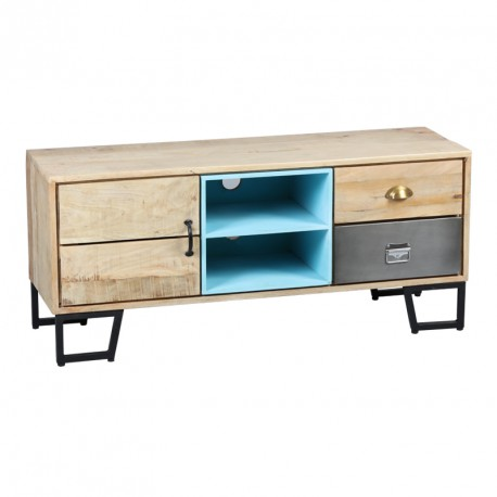 Meuble TV 1 porte 2 tiroirs Bois/Métal industriel - Univers Salon : Tousmesmeubles