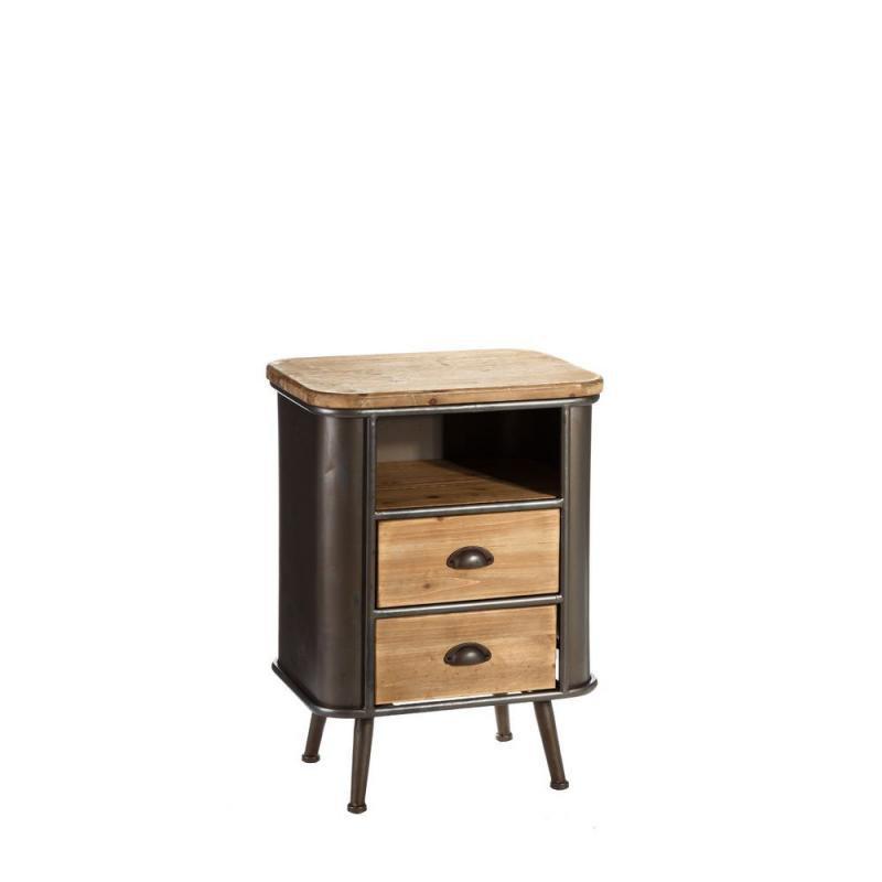 Table de chevet 2 tiroirs 1 niche Bois/Métal industriel - Univers Chambre : Tousmesmeubles