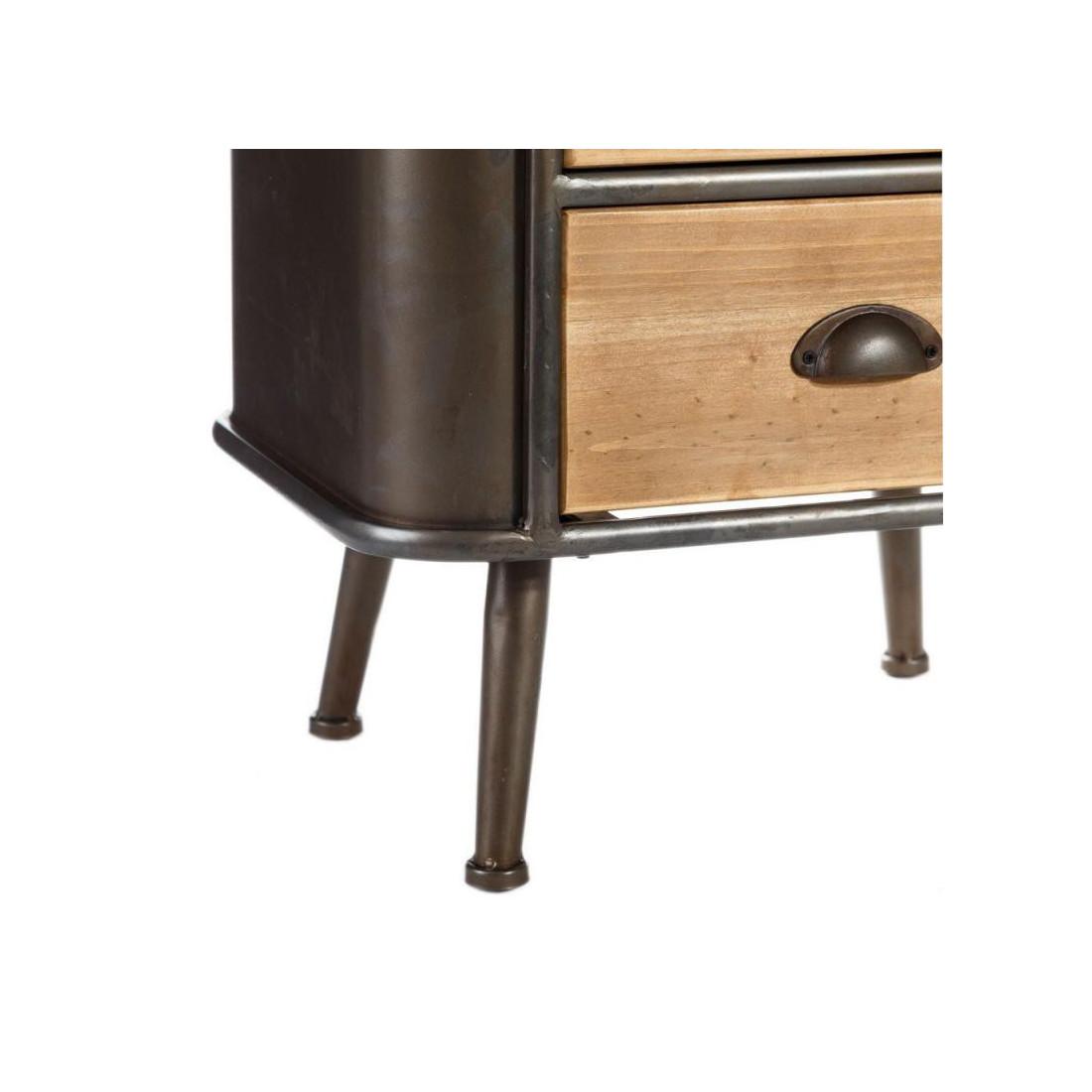 Table de chevet 2 tiroirs 1 niche bois m tal twist - Table chevet industriel ...