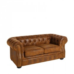 Canapé 2 places Chesterfield Tissu Marron - Univers Salon et Assises : Tousmesmeubles
