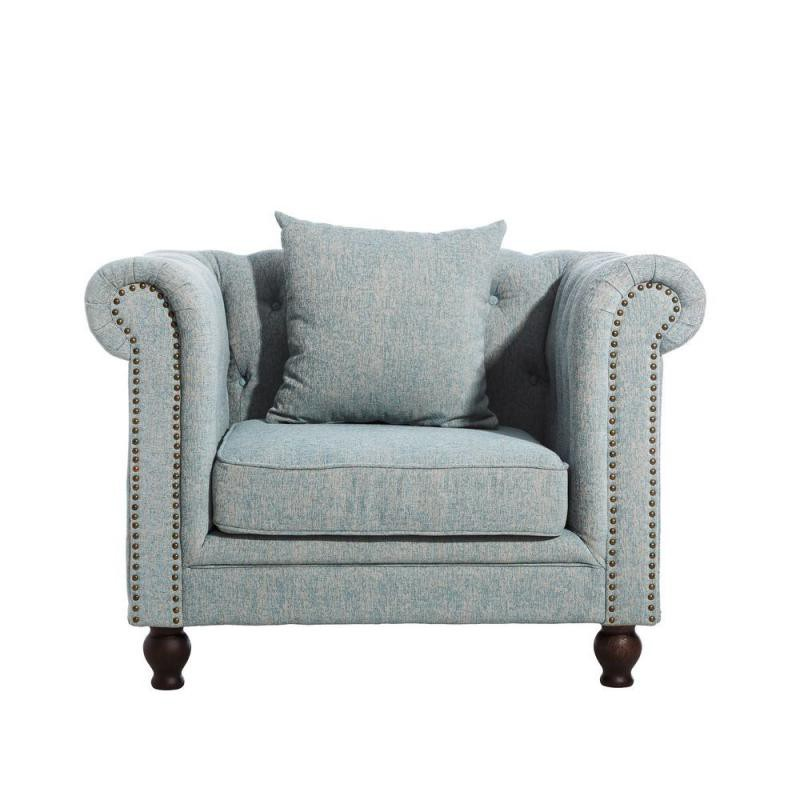 fauteuil chesterfield tissu bleu strike univers du salon et assises. Black Bedroom Furniture Sets. Home Design Ideas