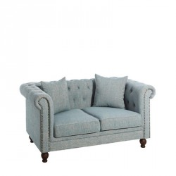 Canapé 2 places Chesterfield Tissu Bleu - Univers Salon et Assises : Tousmesmeubles
