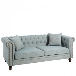 Canapé 3 places Chesterfield Tissu Bleu - Univers Assises et Salon : Tousmesmeubles