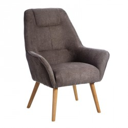 Fauteuil Velours Taupe - WAVE