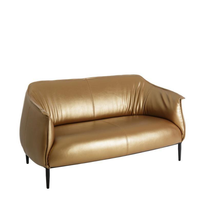 Canapé 2 places Simili cuir Or contemporain design - Univers Assises et Salon : Tousmesmeubles