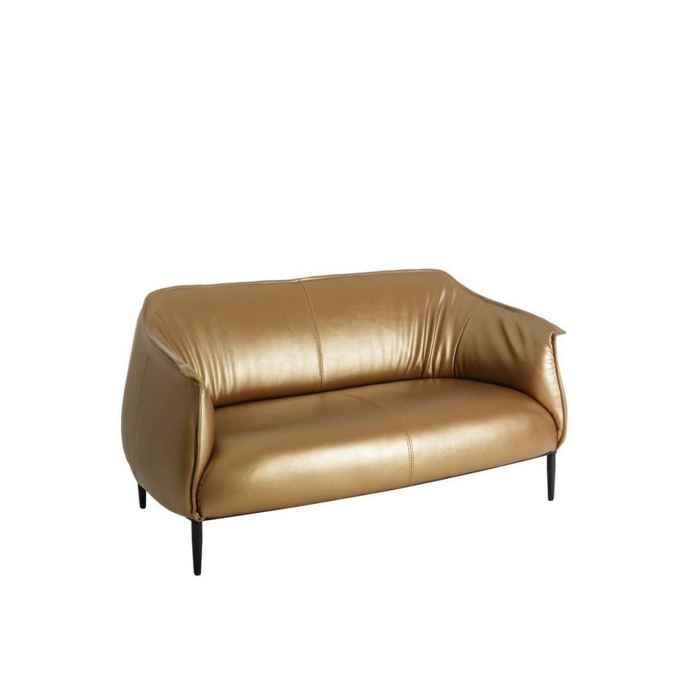 Canap 2 places simili cuir or golden univers du salon for Canape 2 places simili cuir
